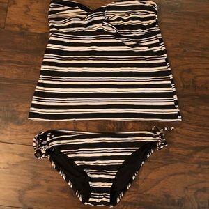Black and White Striped Tankini
